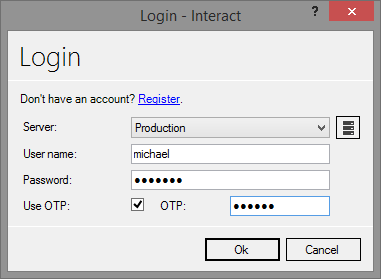 One time password login form
