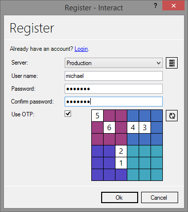 Register one time password